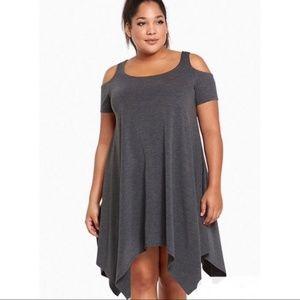 Torrid Gray Cold Shoulder Asymmetrical Dress